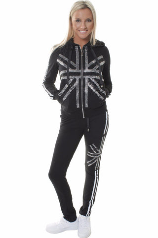 British Flag Embellishment Design Black Tracksuit Set