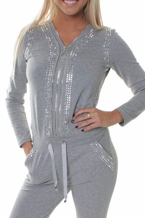 Grey Faux Diamante Studded Jumpsuit