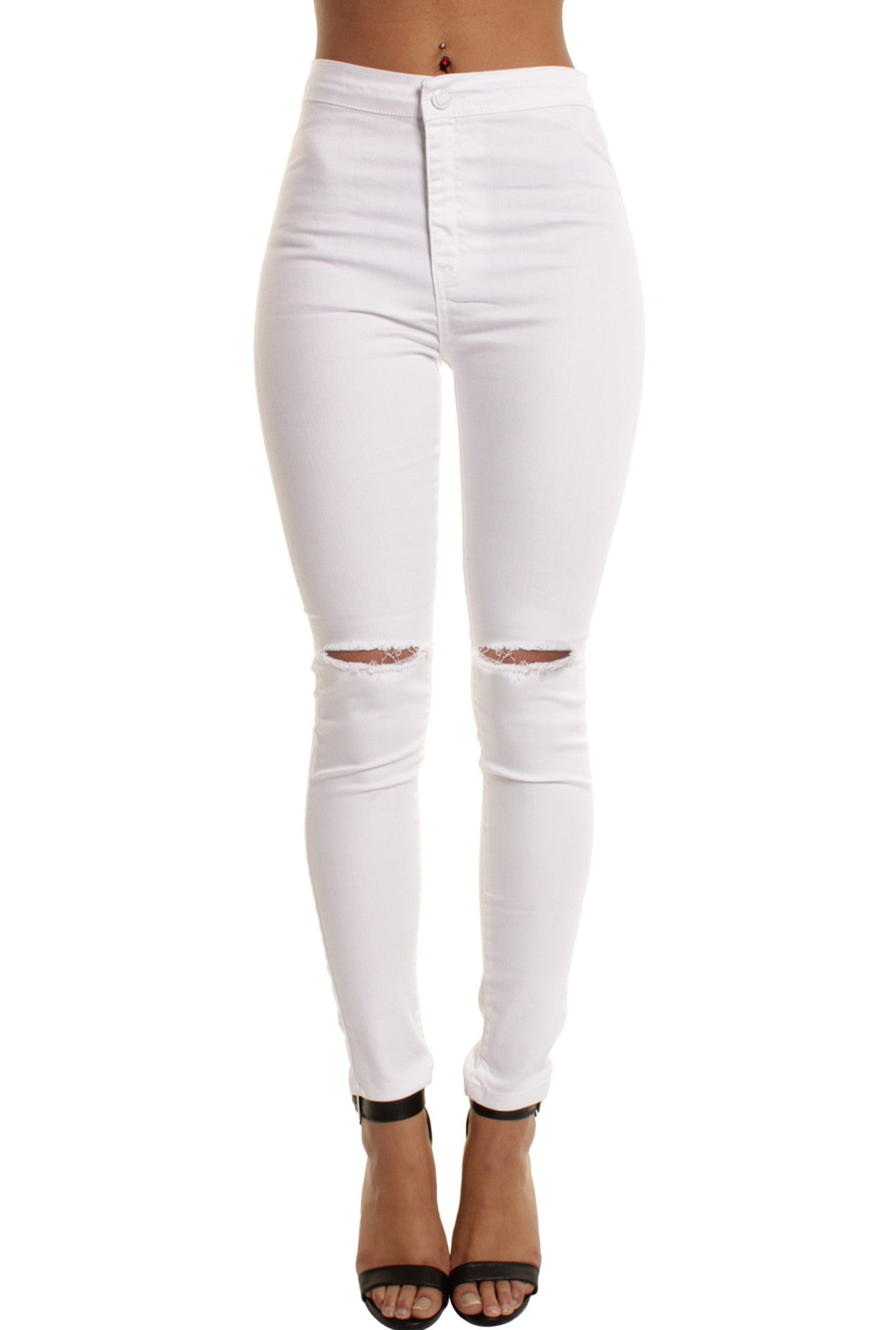 High Waisted Ripped White Jeans - Jon Jean