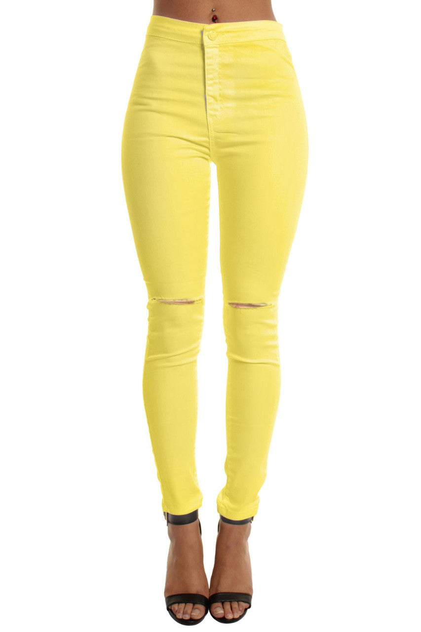 Yellow High Waisted Ripped Knee Skinny Jeans – Fashion Snip