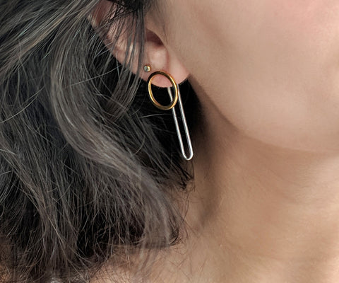 circle hoop earring with jackets gold silver Maya magal jewellery London