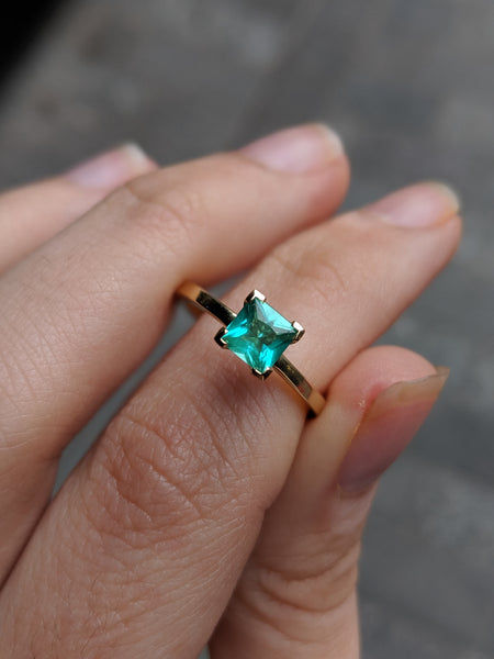 Princess Cut Emerald Gold Ring