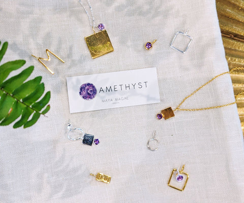 Amethyst February birthstone collection Maya Magal London mixed metals silver and gold