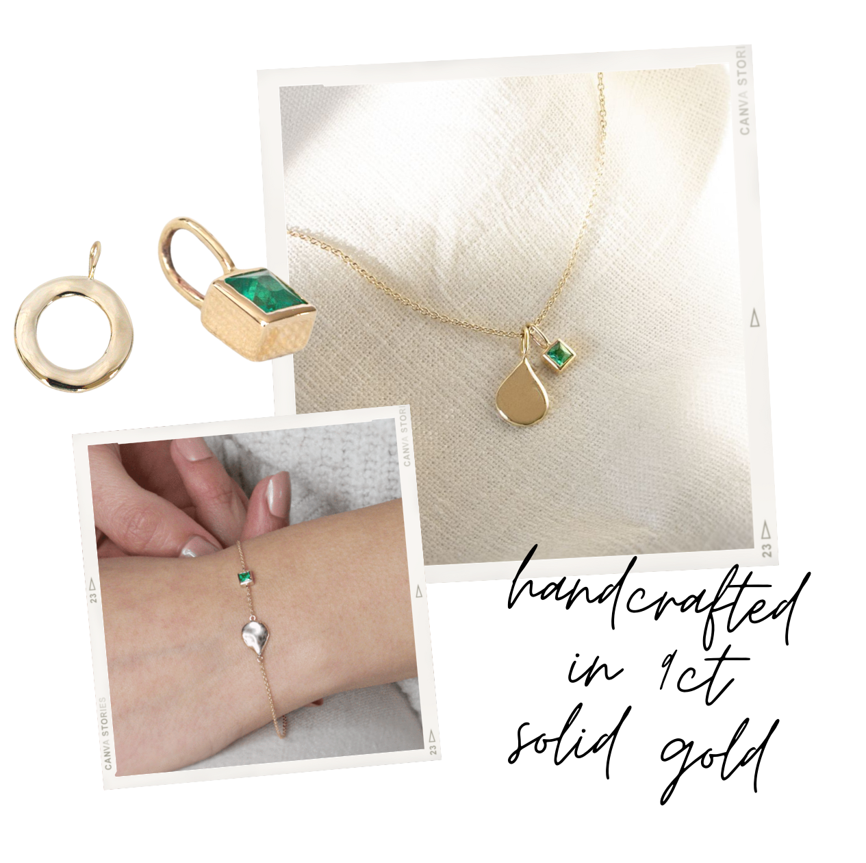 solid gold emerald jewellery by maya magal london