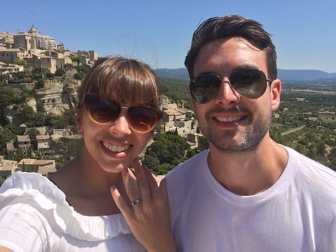 happy couple with their bespoke engagement ring designed by us