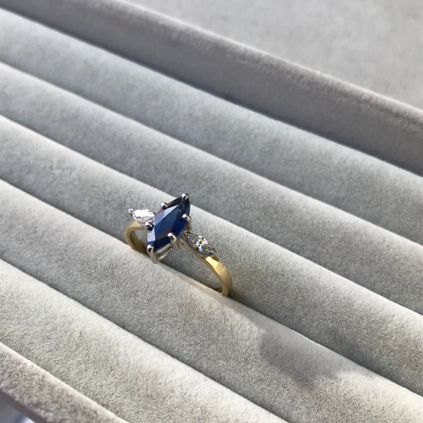 Sapphire and Diamond Marquise Ring