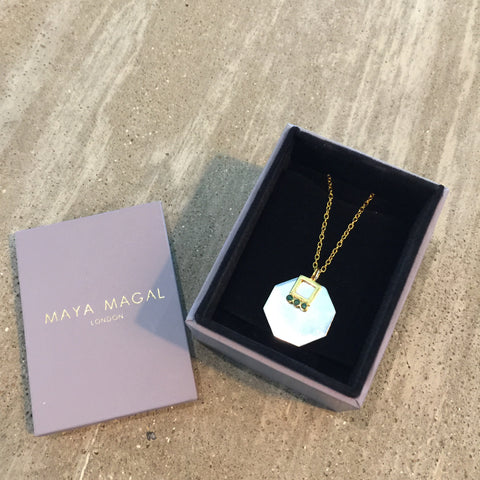 May birth stone charm Emerald Gold Maya Magal London