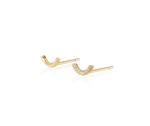 solid gold u studs earrings diamond Maya magal jewellery
