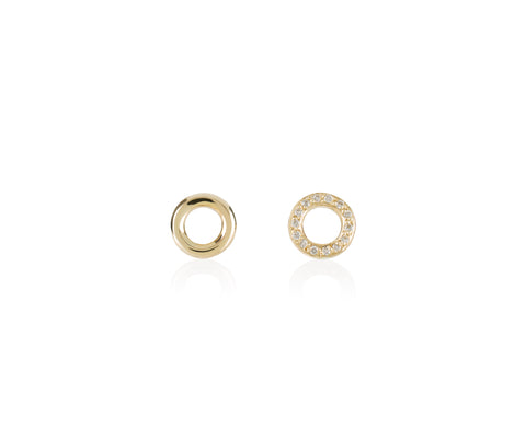 solid gold o studs diamonds earrings Maya magal jewellery London