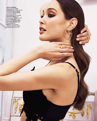 you magazine press fashion jewellery British London luxury silver gold double band with moonstone ring accessory gem