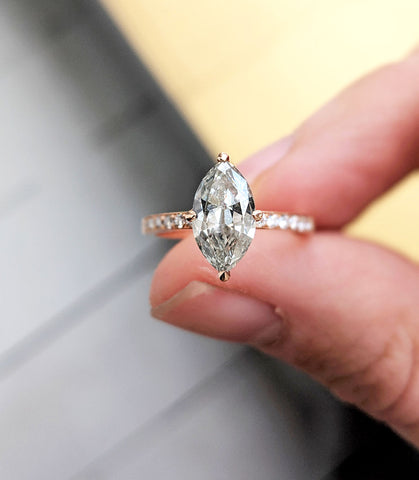 Vintage Style Marquise Grey Diamond Ring