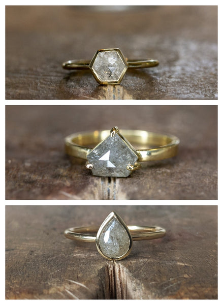 One-Off Grey Diamond Rings