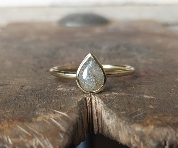 pear shaped grey diamond ring
