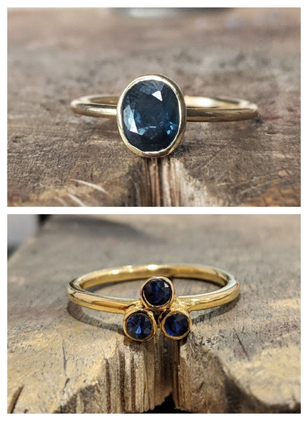 One-Off Blue Sapphire Solid Gold Rings