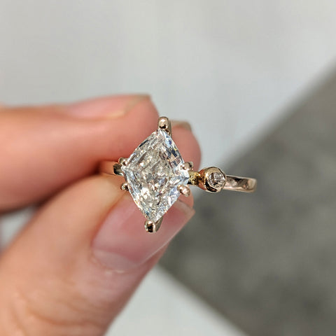 Diamond create unusual engagement ring bespoke London jewellery