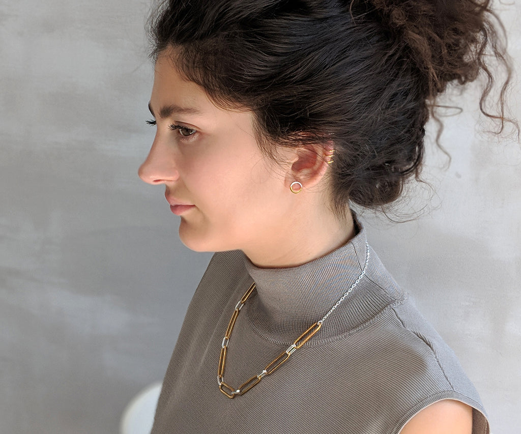 loose link choker mixed silver gold necklace Maya Magal jewellery London