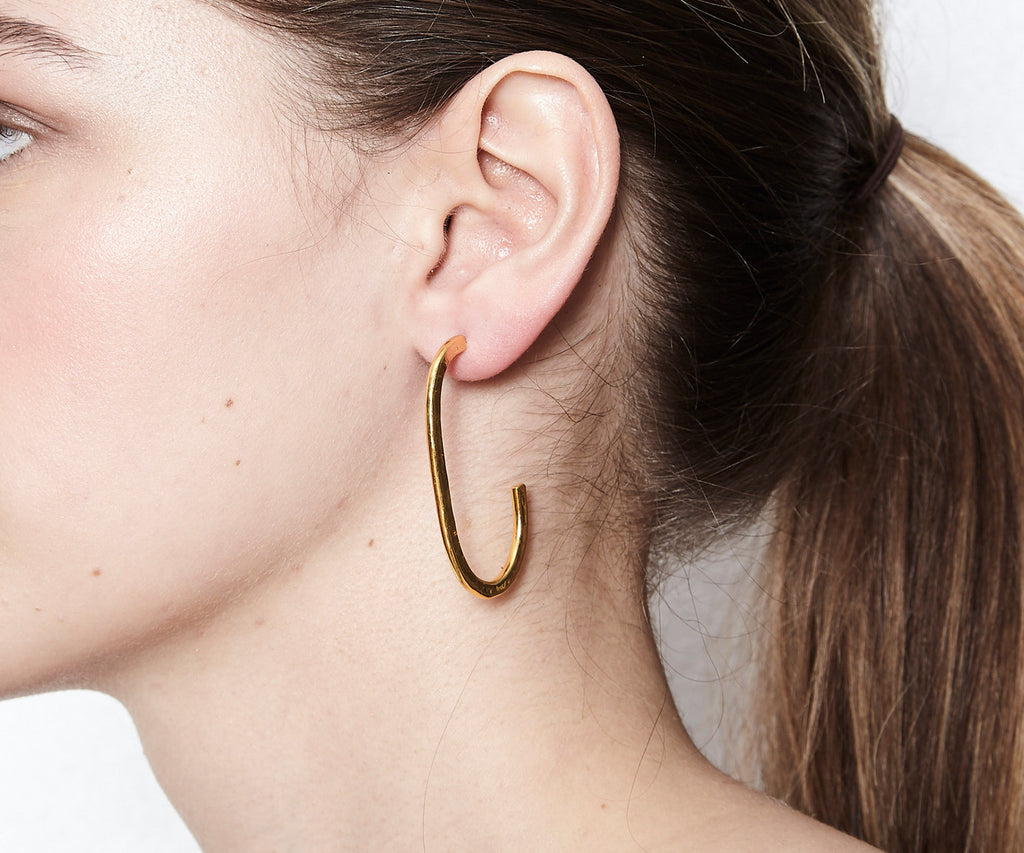 hover oval hoop earrings gold Maya Magal jewellery London