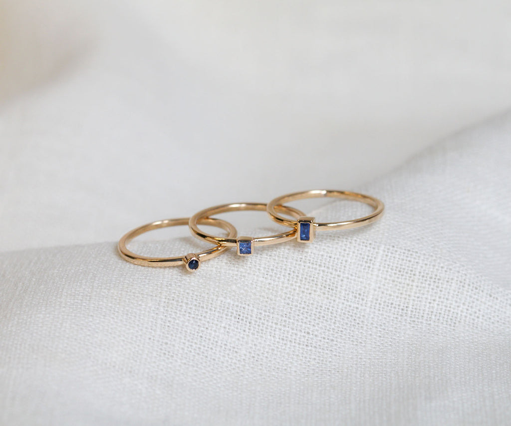 blue sapphire ring set in 9ct yellow solid gold, handmade in London, UK, part of Sapphire collection, Maya Magal luxury jewellery brand