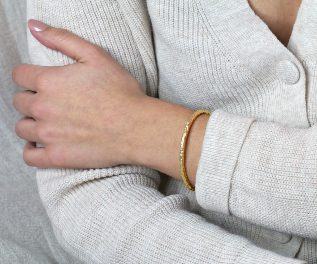 etched bracelet gold plated sterling silver handmade in london by maya magal jewellery uk