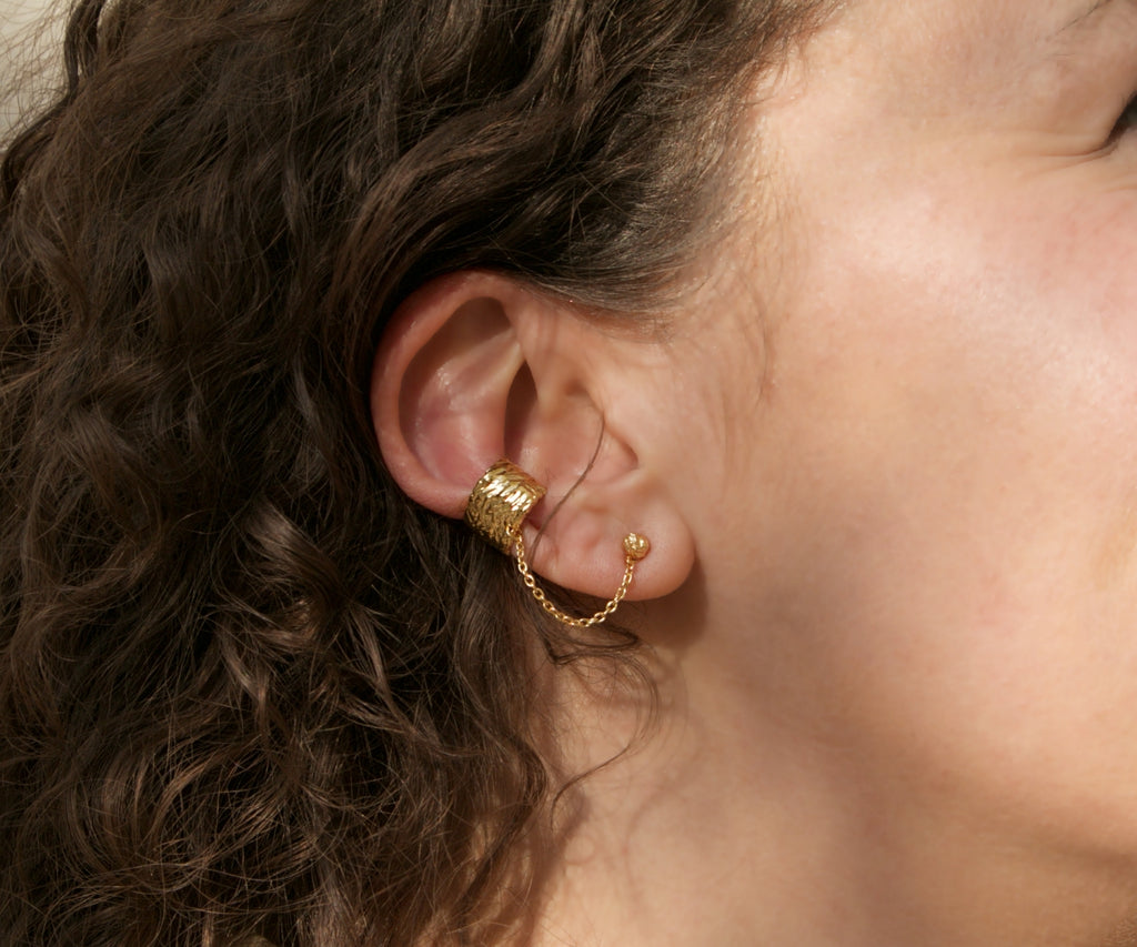 etched stud earrings and ear cuff gold plated by maya magal london uk