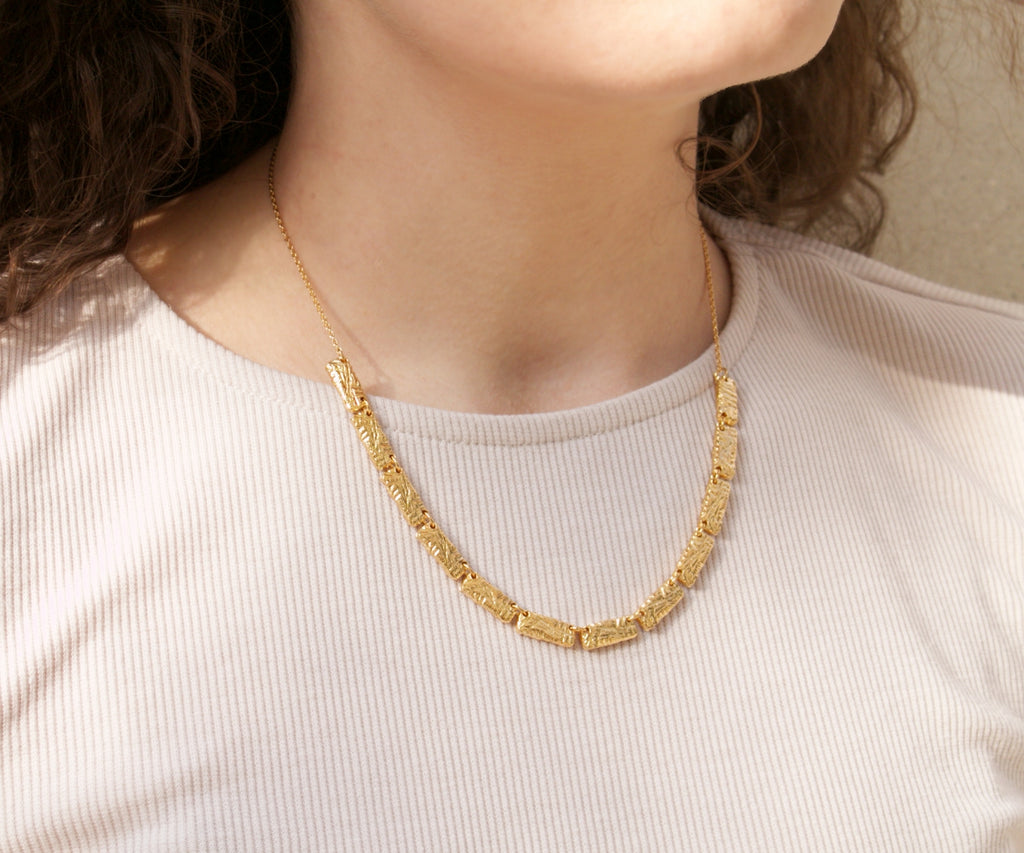 etched gold plated chunky necklace handmade maya magal london jewellery uk
