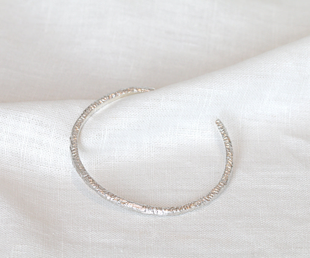 etched bangle bracelet sterling silver handmade in london by maya magal jewellery uk