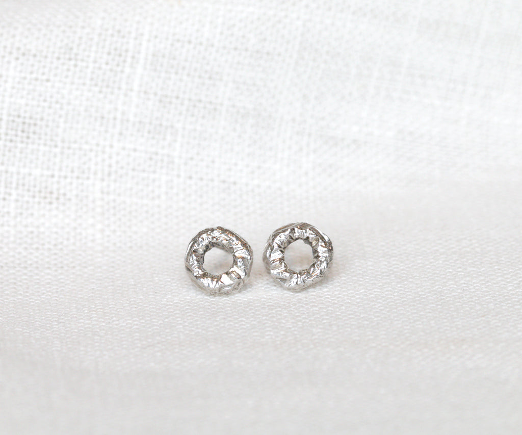 etched stud earrings sterling silver handmade in london by maya magal jewellery uk