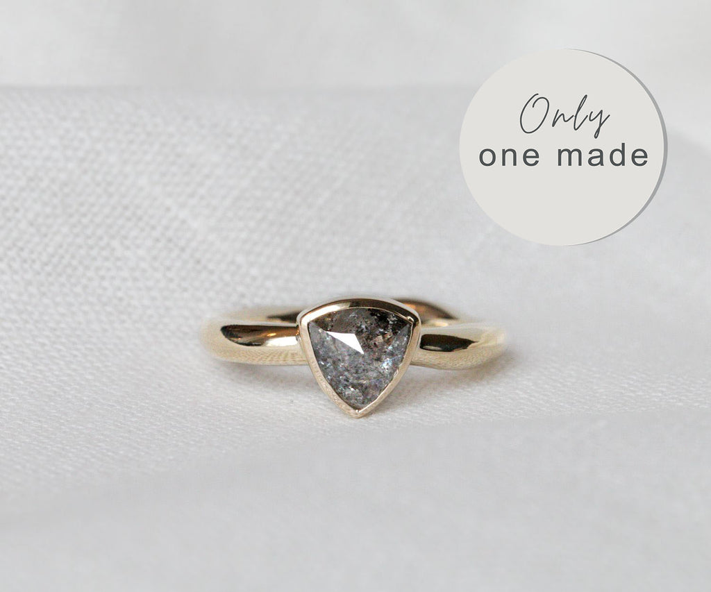 grey diamond ring triangular bezel setting solid gold handmade by maya magal london uk