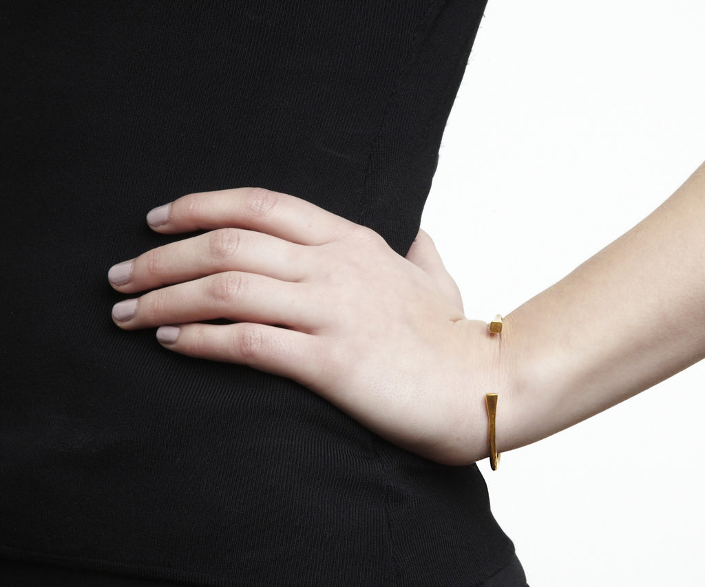 brushed open bangle gold bracelet Maya Magal jewellery London