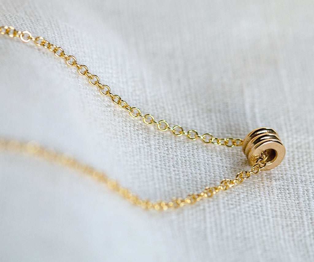 Solid Gold Lathe Bead Necklace
