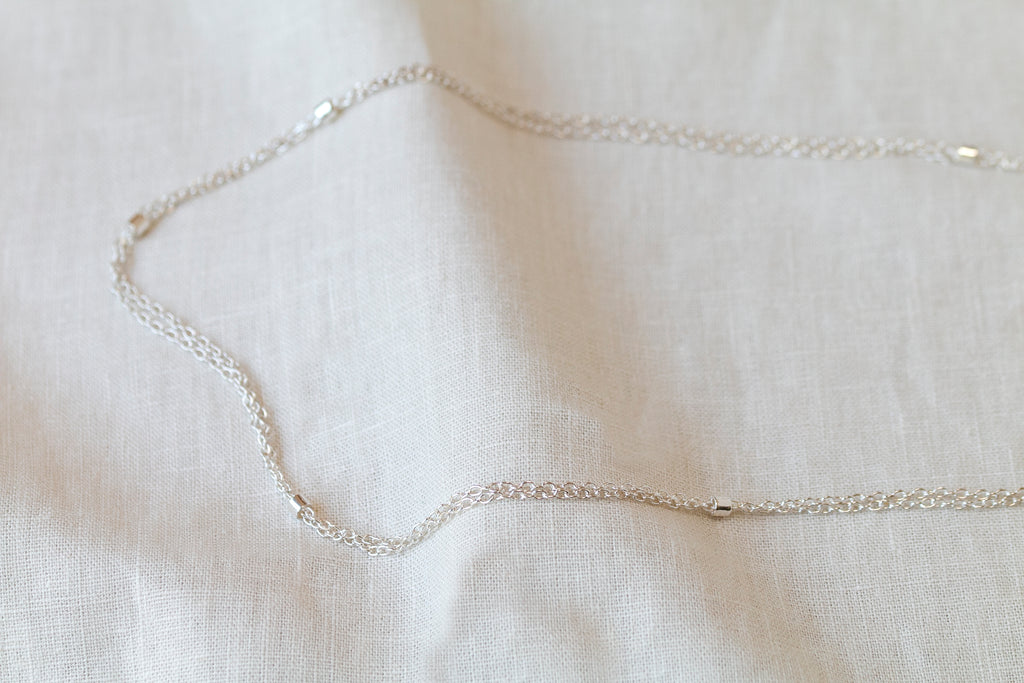 double chain necklace silver maya magal london luxury jewellery brand uk