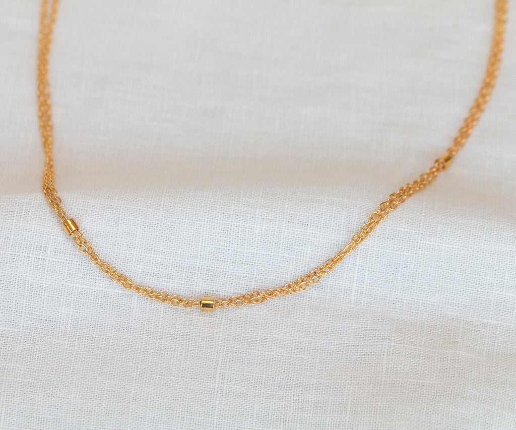 double chain necklace 18ct gold plated sterling silver maya magal london luxury jewellery brand uk