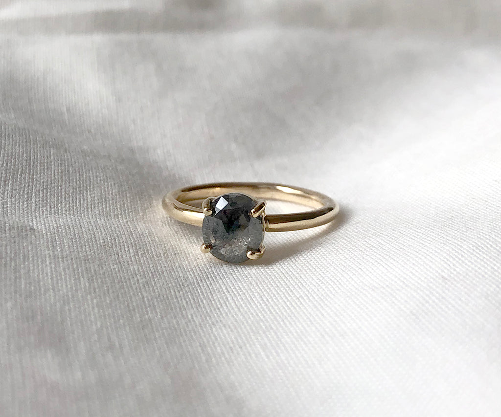 Salt and Pepper Oval Diamond Ring