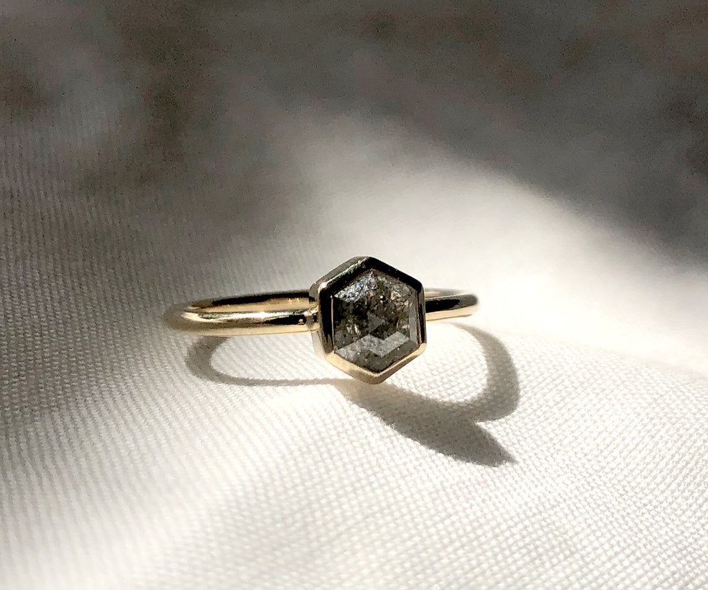 Salt and Pepper Hexagon Diamond Ring
