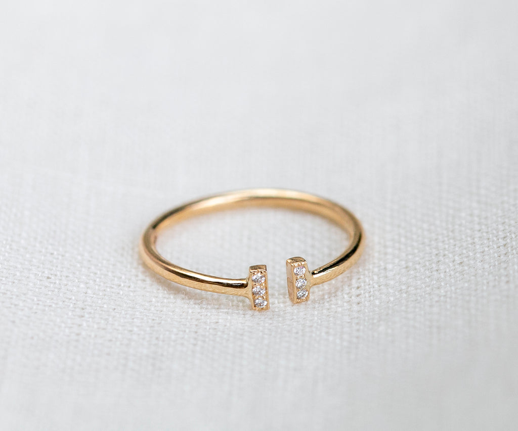 Solid Gold Adjustable Diamond Bar Ring