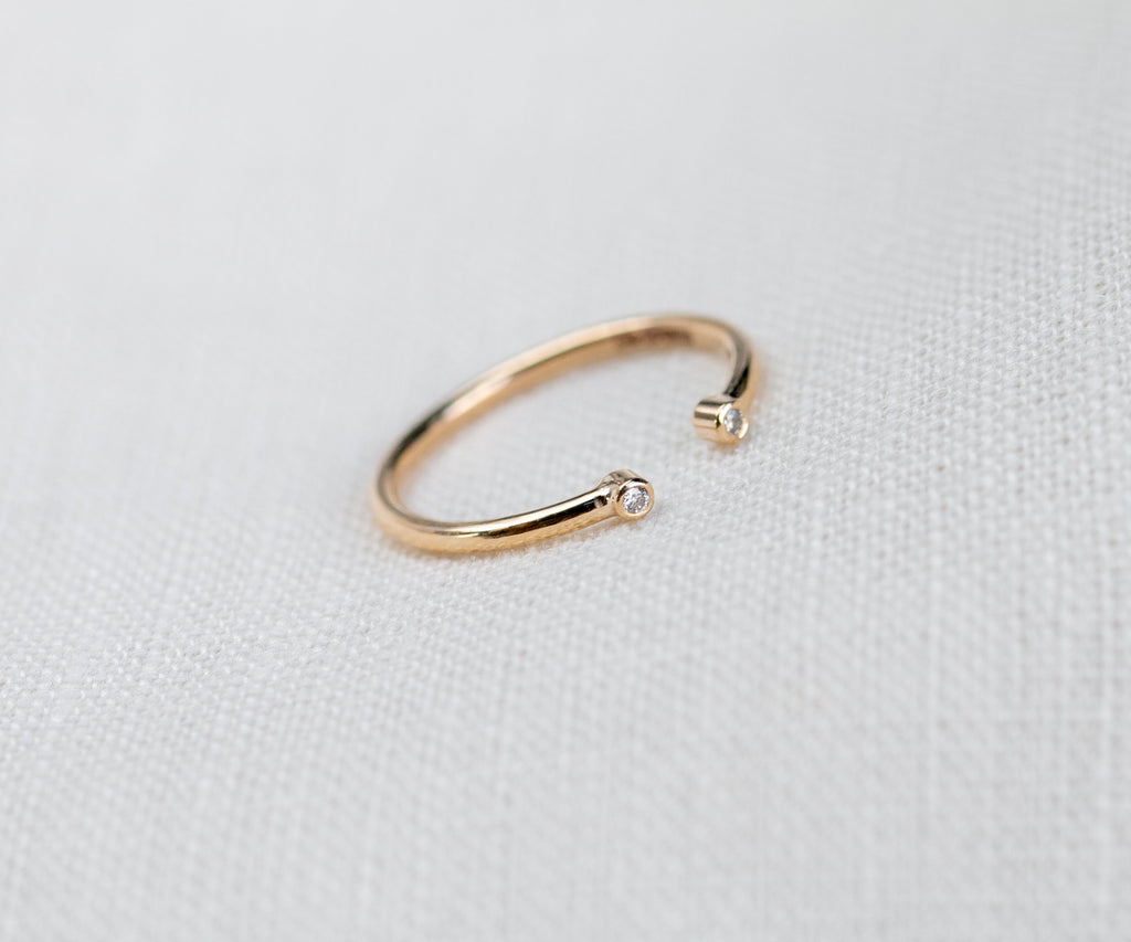diamond ring adjustable in size handmade in solid gold