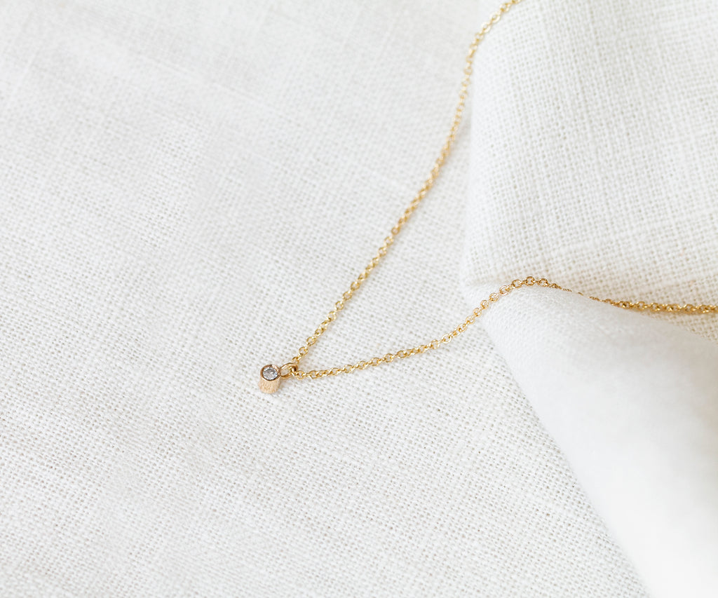 Solid Gold Tiny Diamond Necklace Maya Magal London Luxury Jewellery Brand British UK Dainty 9ct Yellow Gold