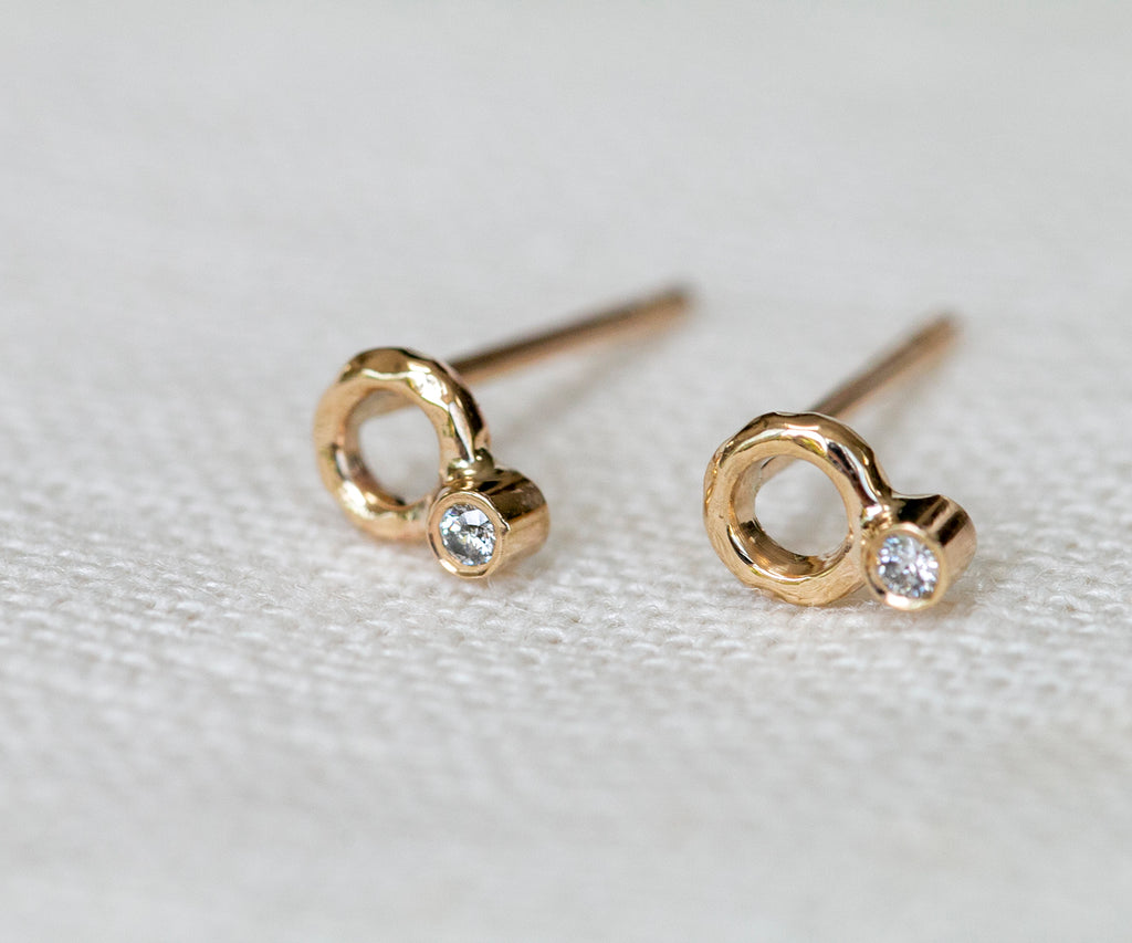 Handmade solid gold diamond earrings