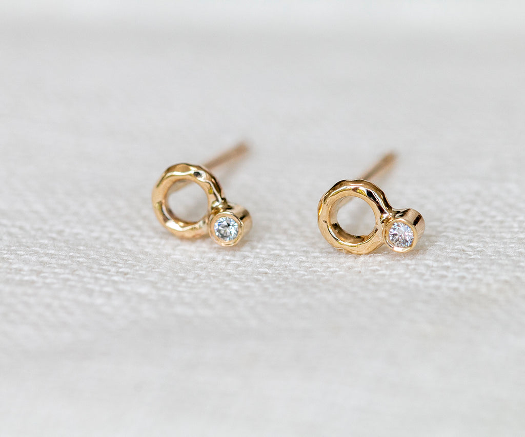 solid gold diamond stud earrings handmade by maya magal london uk