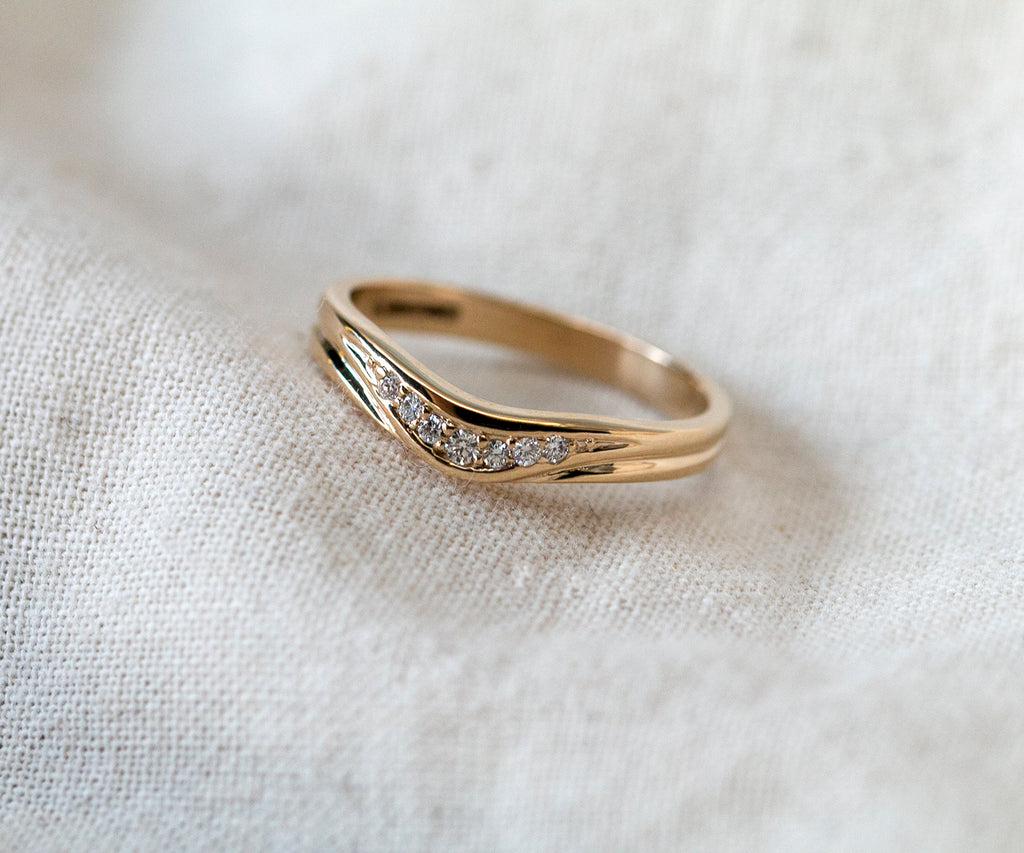 Solid Gold Contoured Band with Diamonds