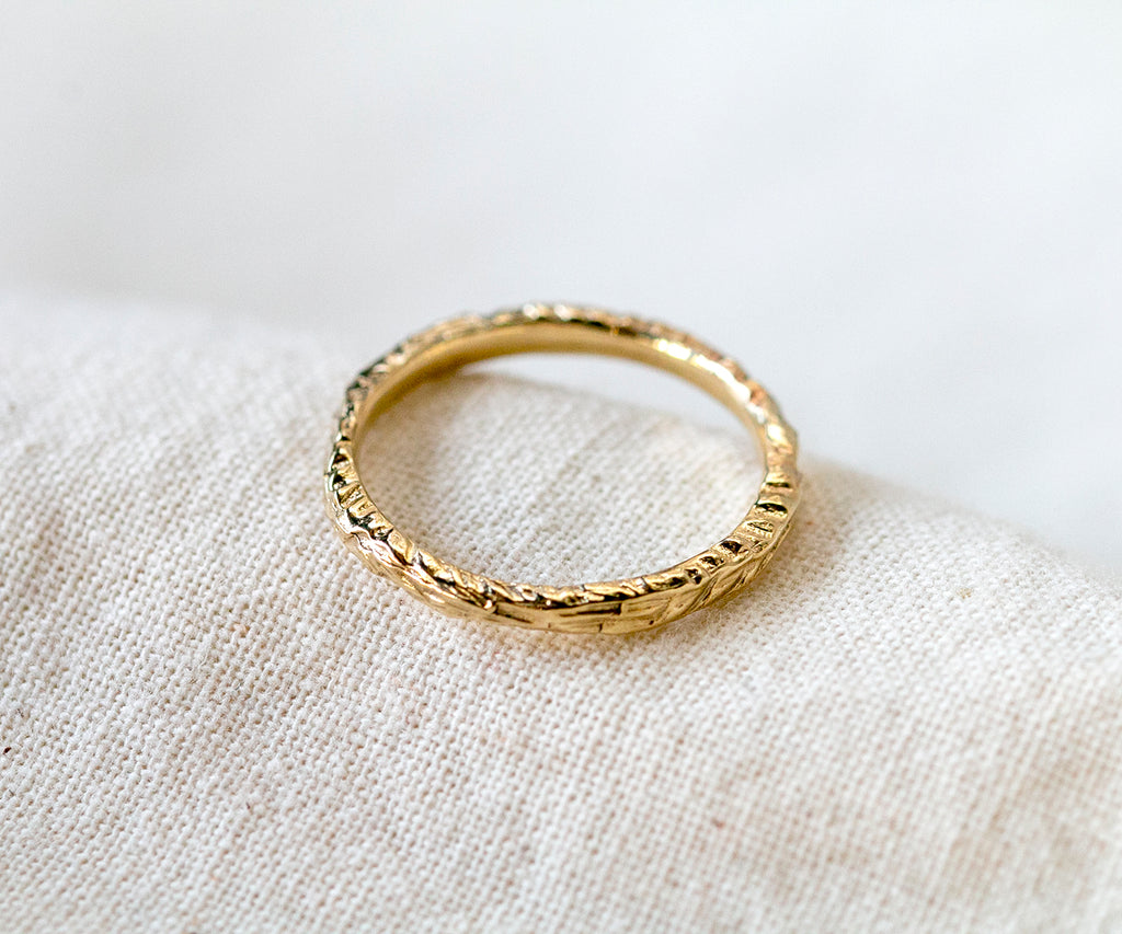 Solid Gold Etched Ring