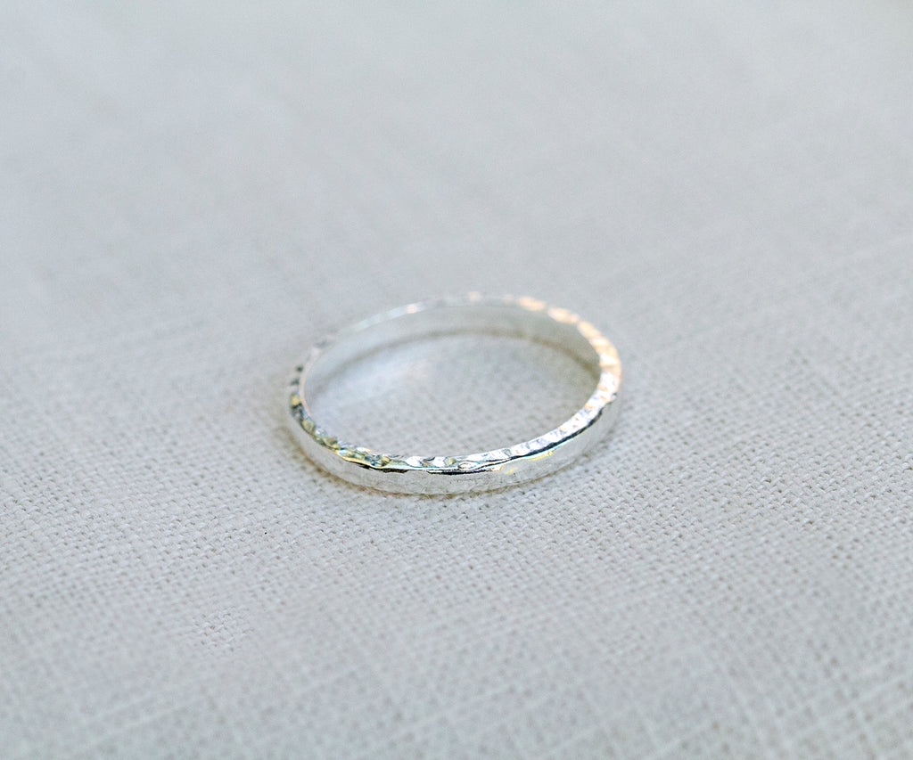 Beaten Stacking Ring Silver Hammered Finish Maya Magal London UK Jewellery Luxury Sterling Silver