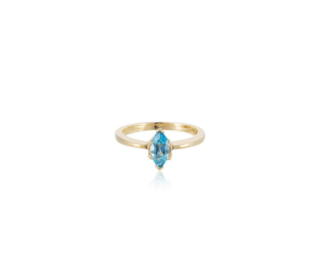 aquamarine solitaire marquise cut ring solid yellow gold 18ct