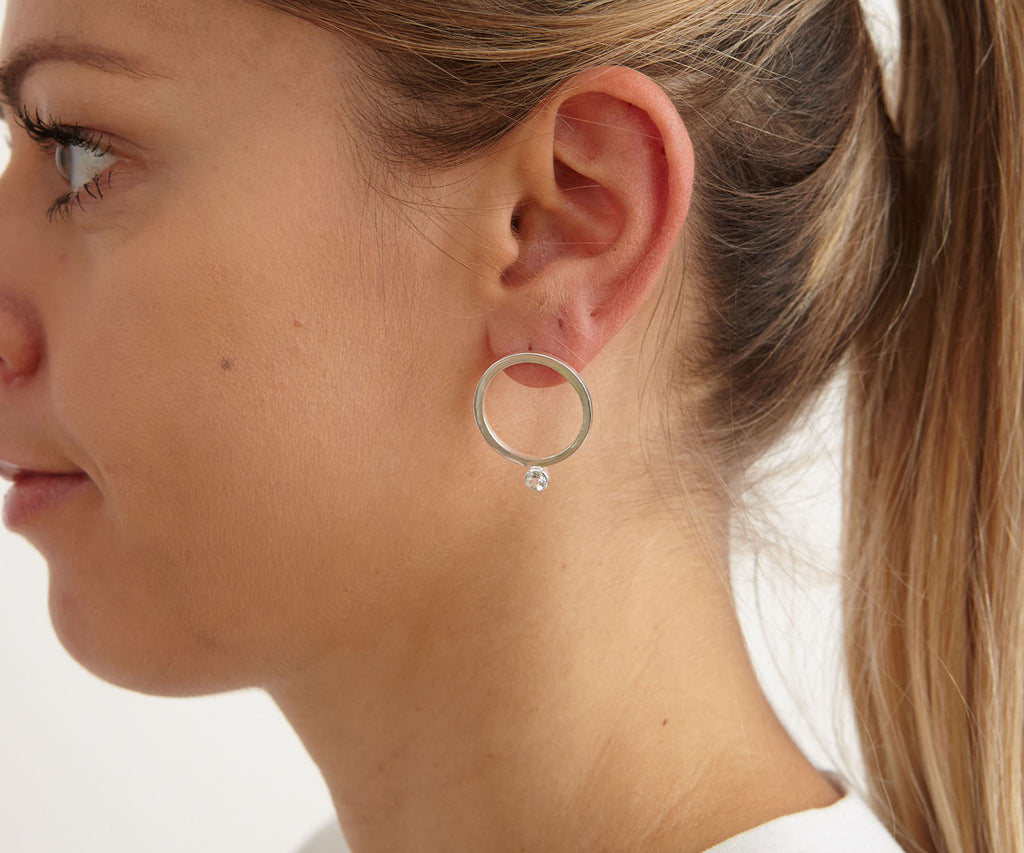 earrings hoops gem stone silver gold luxury jewellery Maya Magal London