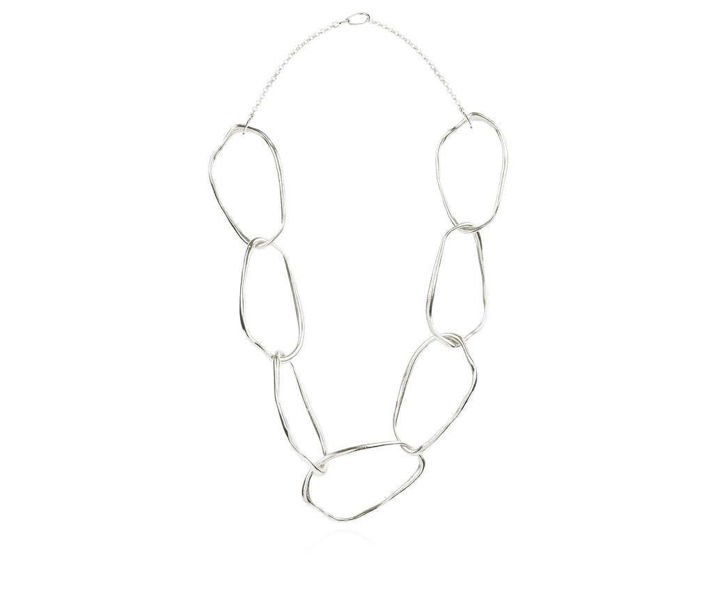 Organic Silver Chain Link Necklace Luxury Jewellery Maya Magal London
