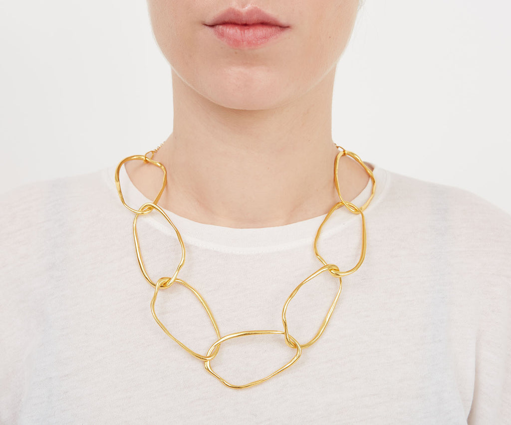 Organic Chain Link Necklace Statement Jewellery Organic Natural Shape 18ct Gold Sterling Silver Maya Magal UK London