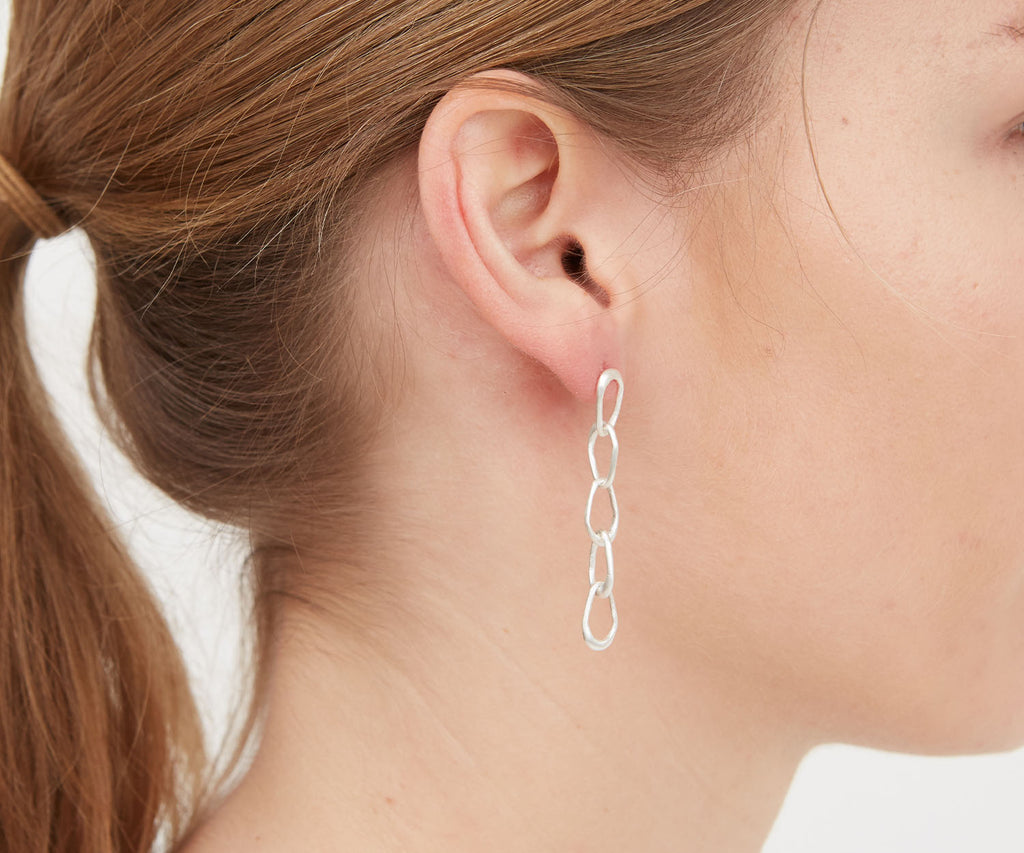 Organic Drop Chain Earring Matt Silver Maya Magal London