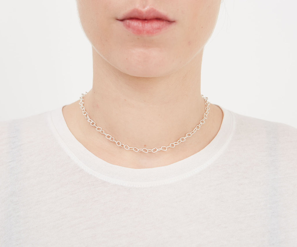 Chain Link Necklace Silver Maya Magal London