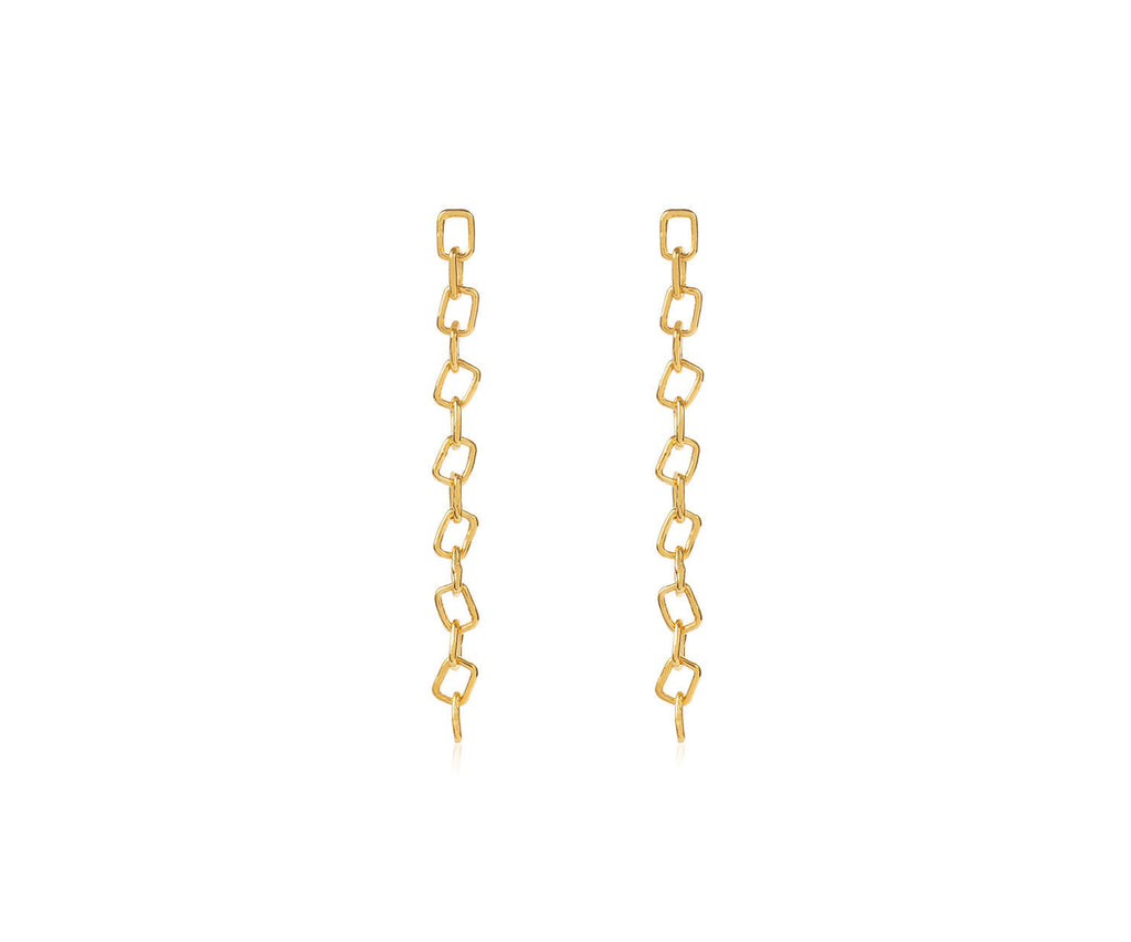 Drop Chain Link Earring Gold Maya Magal London