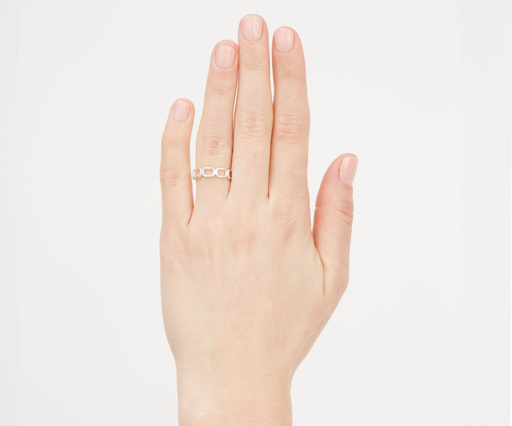 Mini Chain Link Stacking Ring Silver Maya Magal London